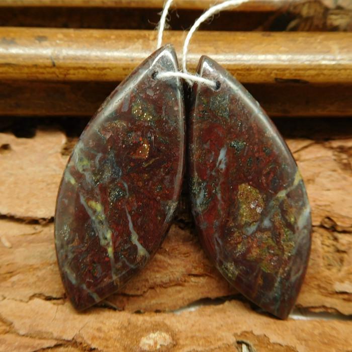 Gemstone dragon bloodstone earring pairs(G0390)