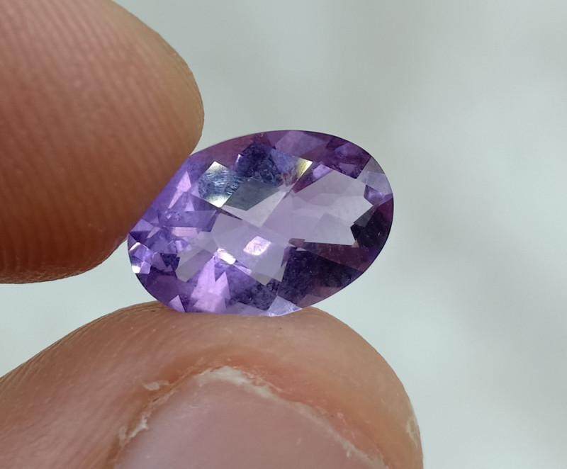 12x8mm Amethyst Checkered Natural Gemstone UnTreated VAF127
