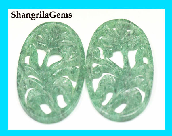 SALE 44mm pair Aventurine green hand carved cabochon like Jade 44 by 27