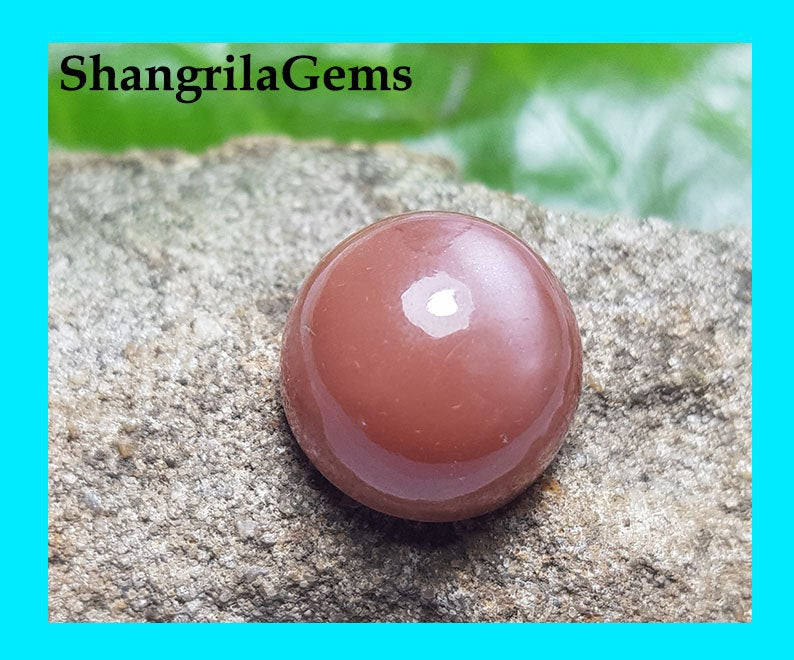16.2mm 20ct pink Brown moonstone round cabochon 16.2 by 10.2mm