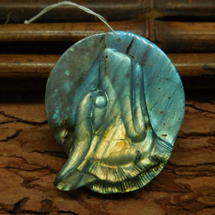 Natural gemstone labradorite carving animal wolf lover (G0434)