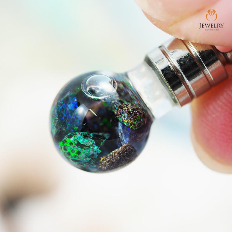 Hand blown glass Natural Opal Chip Pendant OPJ 1088