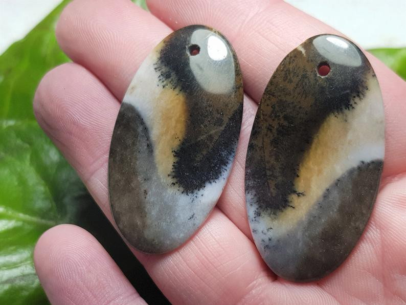 41mm Pair Dendritic Agate cabochon drilled 41 by 23 by 3.5mm 48ct