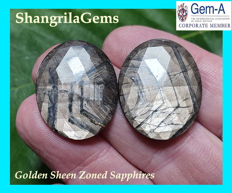 37ct 25mm Pair Golden sheen zoned Sapphires from Sri Lanka  25 by 19 by 3mm