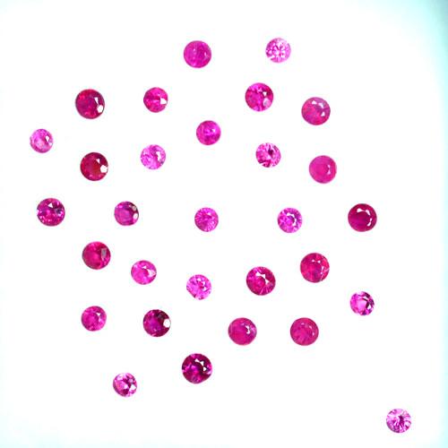 0.94 Cts Burmese Natural Ruby 2.0 - 1.7 mm Round 30Pcs Pinkish Red
