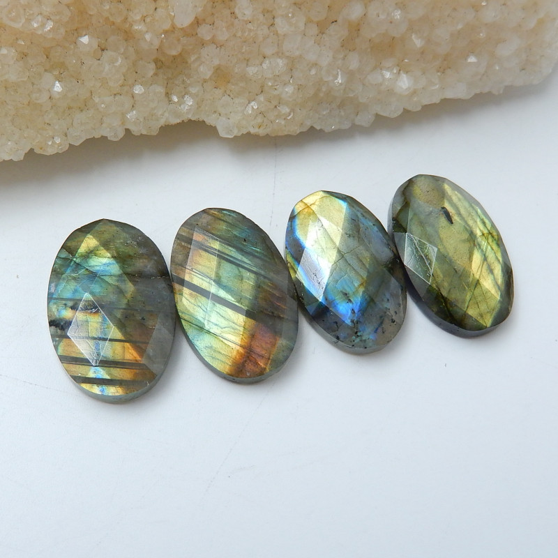 Wholesale,Sell 4pcs Natural Flashy Labradorite Faceted Cabochons C898