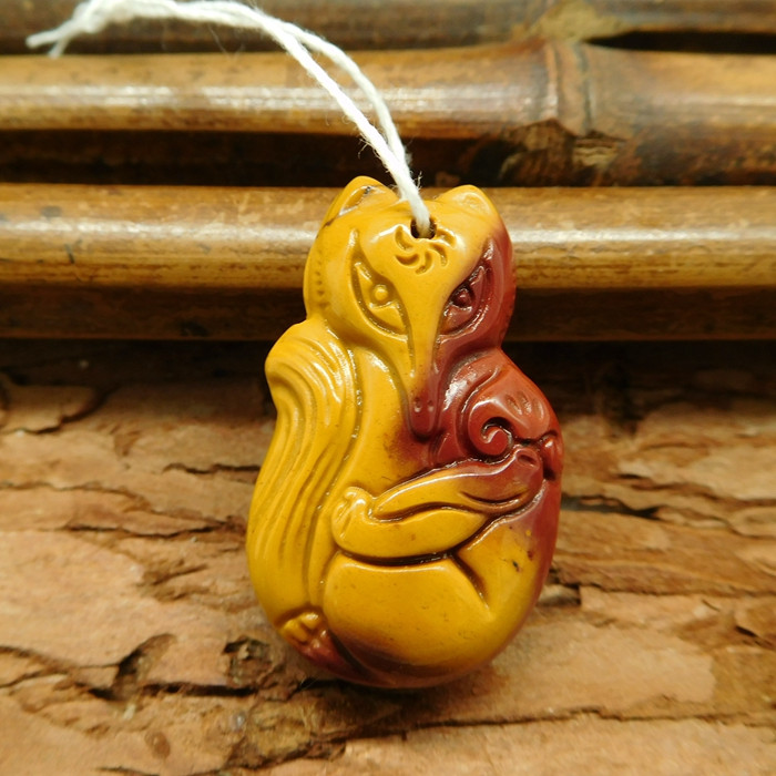 Customized carving fox pendant bead (G0485)