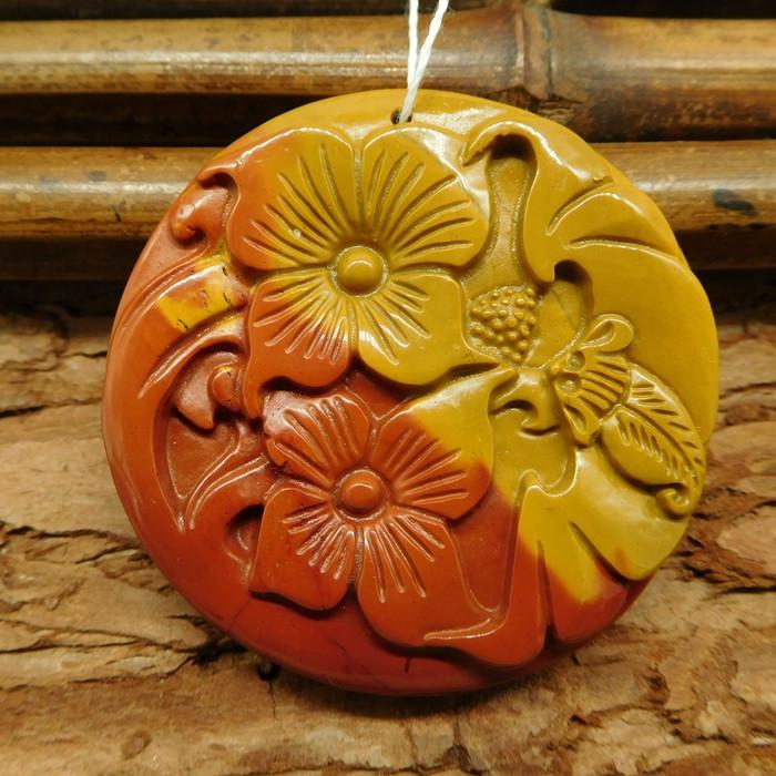 Natural mookaite jasper carved flower pendant (G0490)