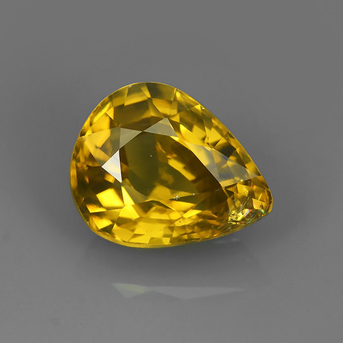 3.35 CTS DAZZLING NATURAL RARE TOP LUSTER INTENSE YELLOW ZIRCON!!