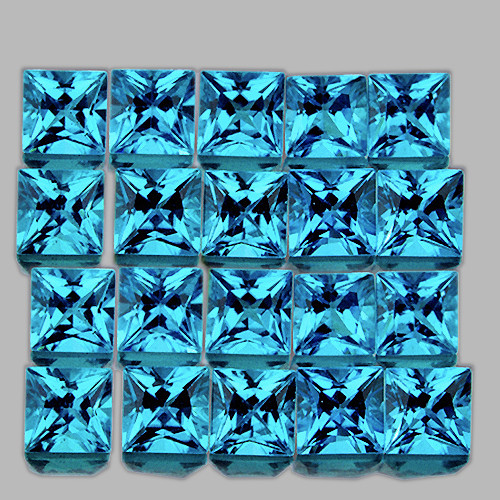 2.80 mm Square Princess Cut 20 pcs 2.83cts Swiss Blue Topaz [VVS]