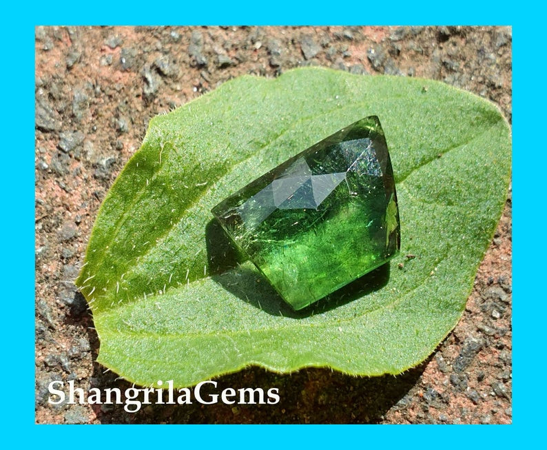13mm chrome green tourmaline free form rose cut from Oro Mine Nigeria 13 by