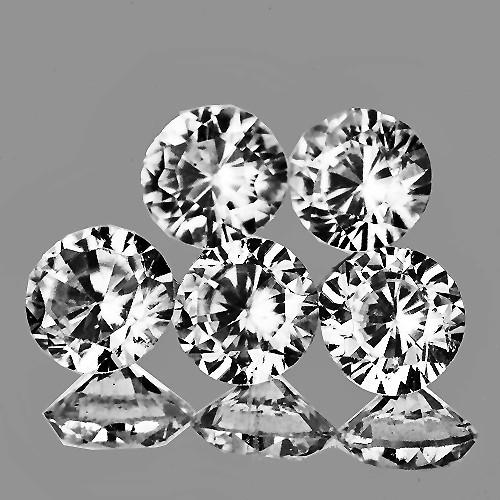 4.00 mm Round 5 pcs 1.58cts White Zircon [VVS}