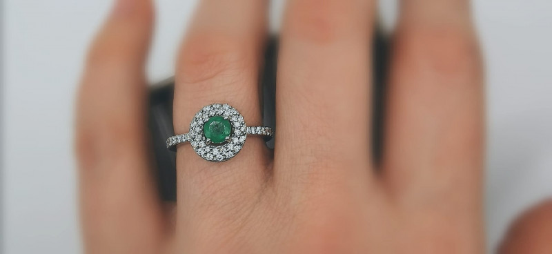 0,35ct Colombian Emerald 18k Solid Gold Ring  0,35/76 Colombian Natural Eme