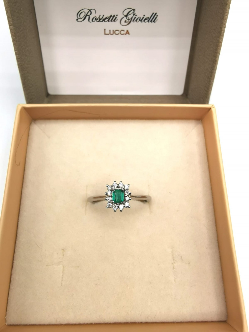 0,18ct Colombian Emerald 18k Solid Gold Ring Colombian Natural Emerald Colo