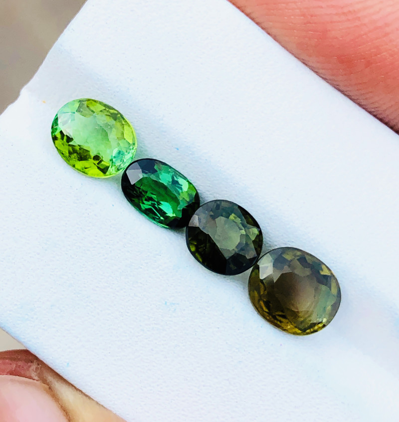 4.30 Ct Natural Greenish Transparent Tourmaline Gemstones 4 pieces