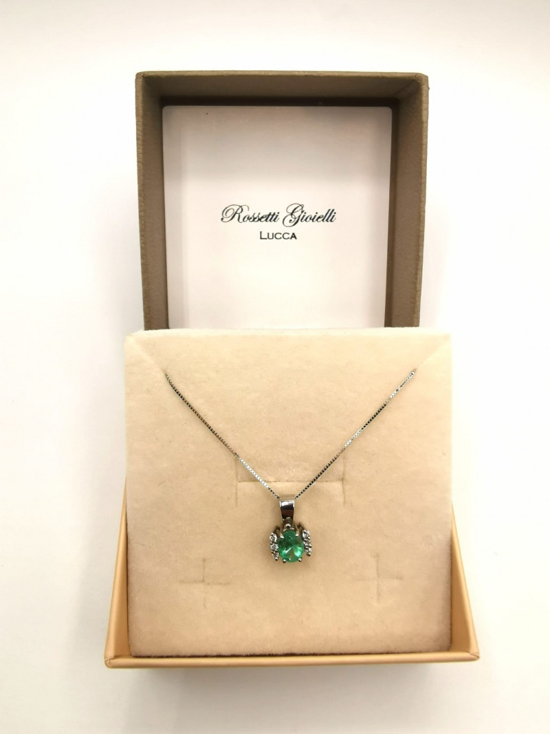 0,74ct Colombian Emerald 18k Solid Gold Necklace Colombian Natural Emerald
