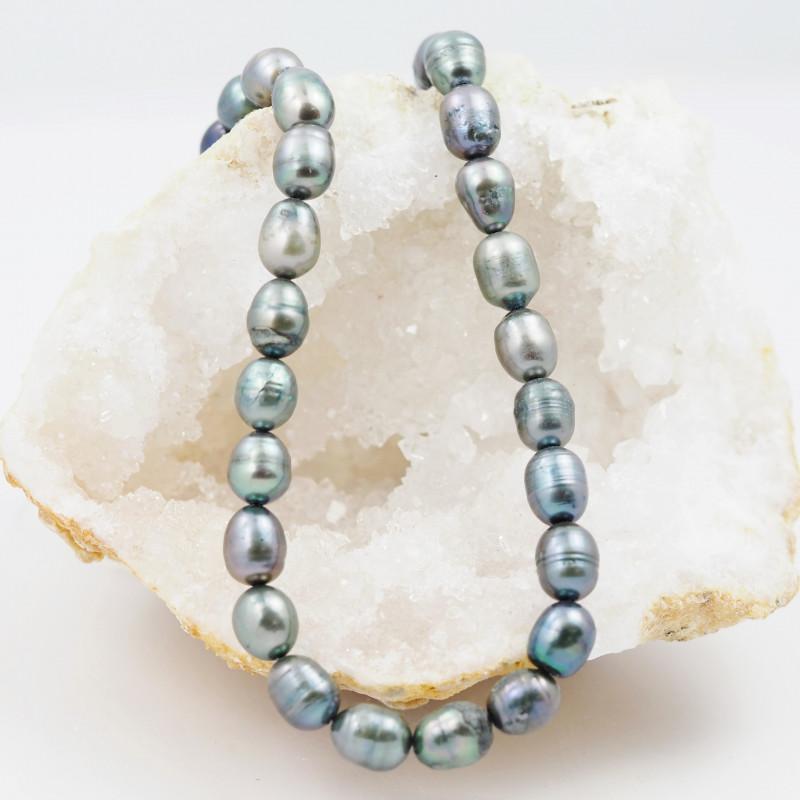 40 cm Fresh Water Pearl Stand Black Pearls GWE 2004c