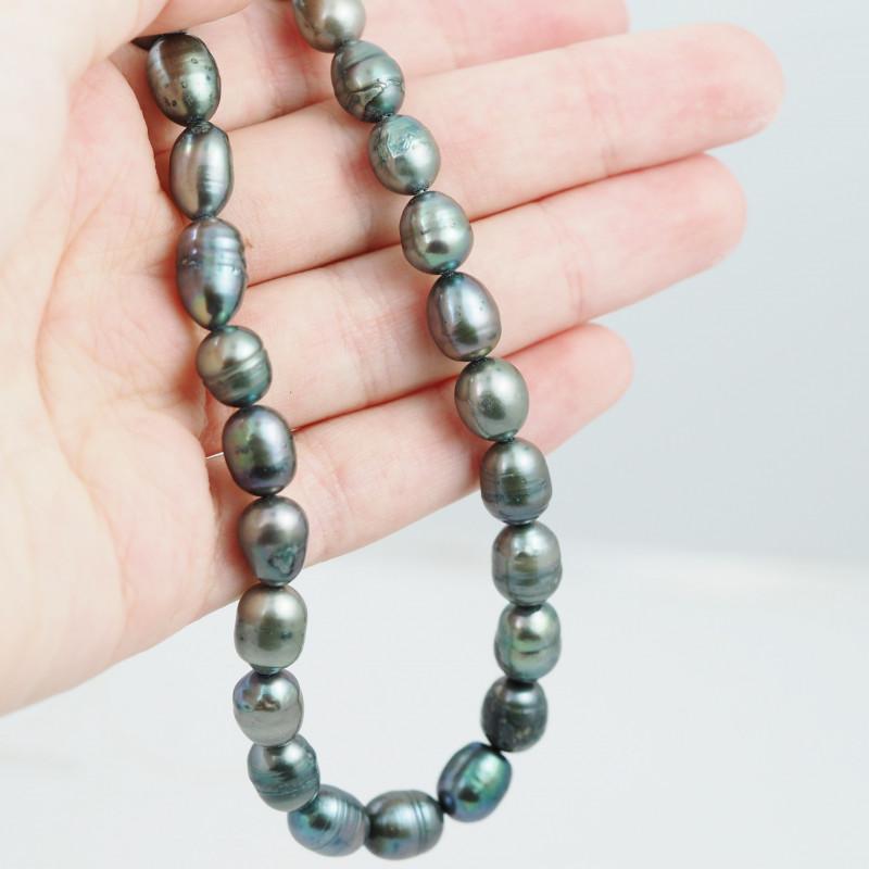 40 cm Fresh Water Pearl Stand Black Pearls GWE 2004 d