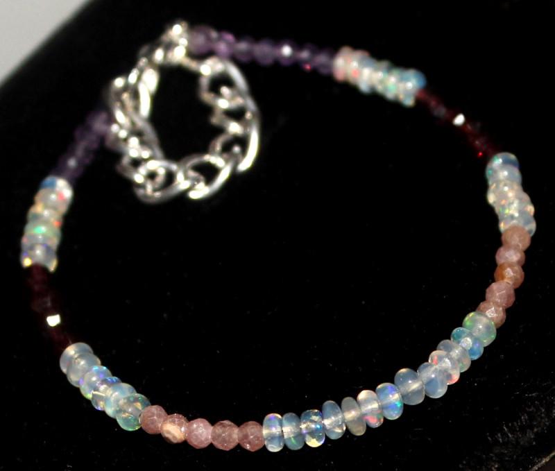 16 Crt Natural Welo Opal Amethyst Garnet Sunstone Beads Bracelet 471