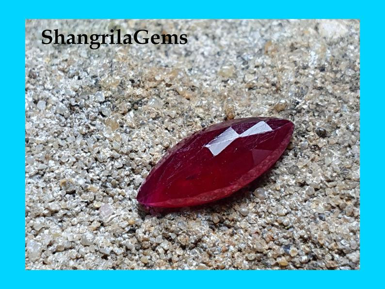 10.7mm Ruby Marquise shape Mozambique heat only 10.7 by 4.49 by 2.2mm 0.99c