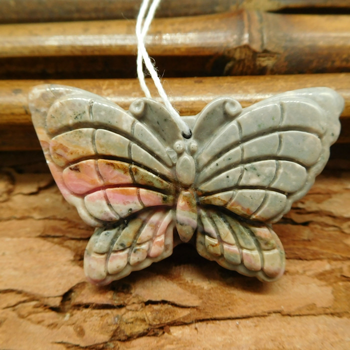 Rhodonite carved butterfly pendant (G0524)