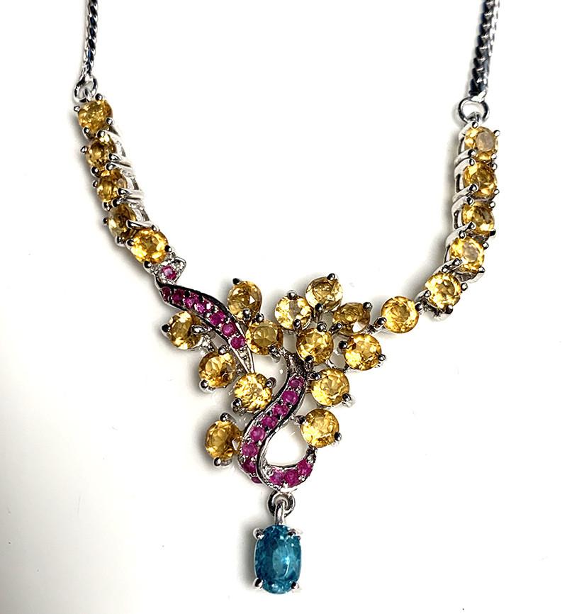 Citrine Zircon Ruby 925 Silver Gold Necklace 18 In