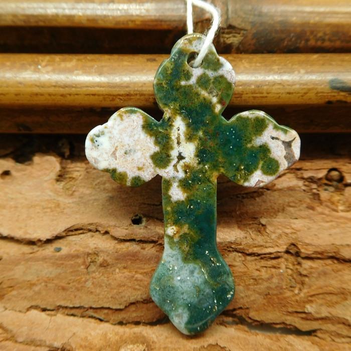 Ocean jasper carved crossing pendant (G0541)