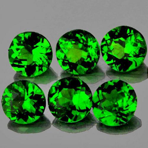 3.50 mm Round 6 pcs 1.22cts Chrome Green Diopside [VVS]