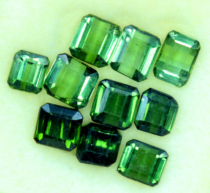 10.25 CT Top Grade Emerald Green Color Natural Tourmaline 10 PCS LOTT