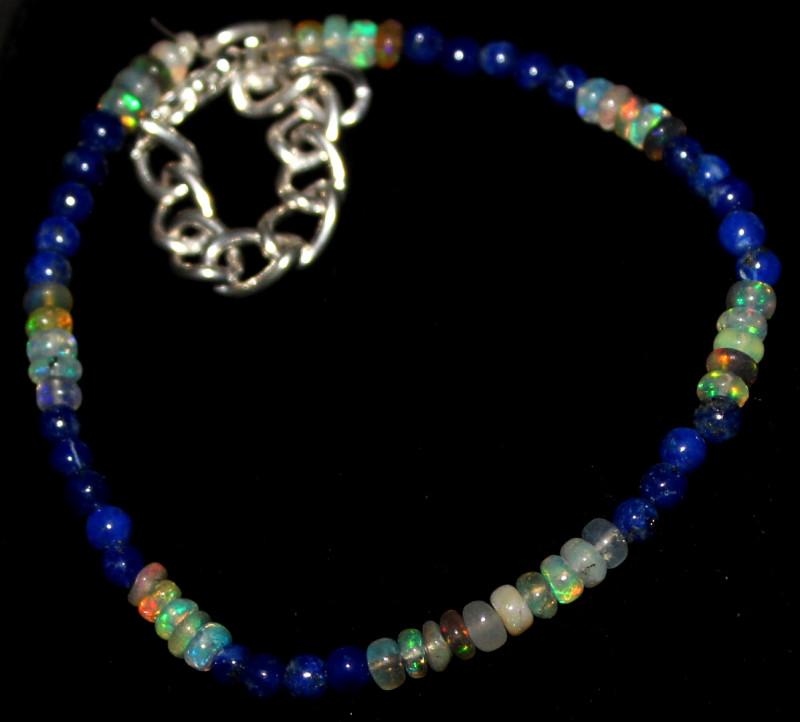 21 Crts Natural Welo Opal & Lapis Lazuli Beads Bracelet 478