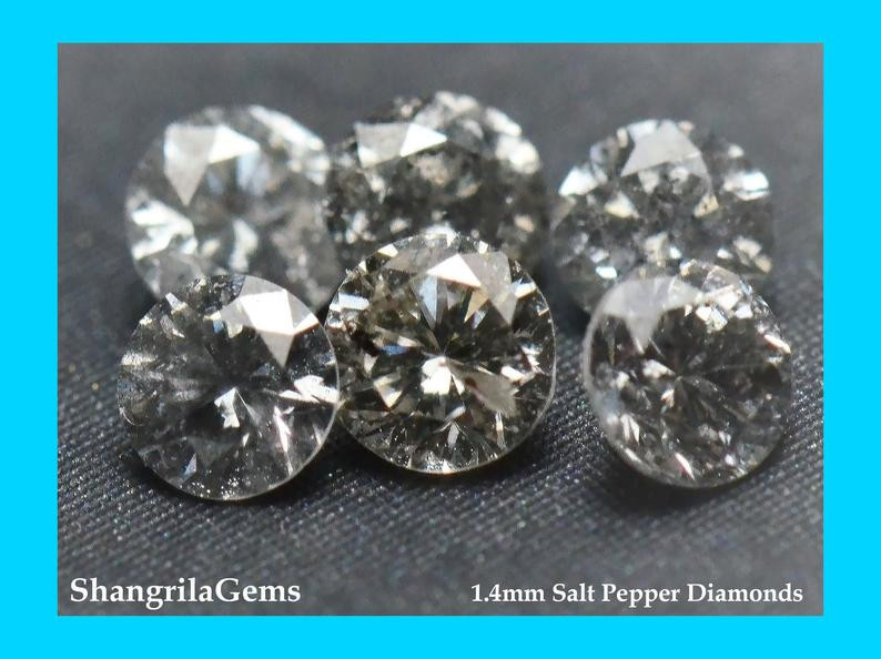 0.25ct 1.4mm Salt Pepper diamonds 19 gems approx