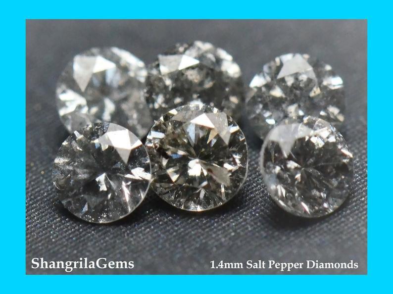 0.5ct 1.4mm Salt Pepper diamonds AA grade 36  to 38 gems