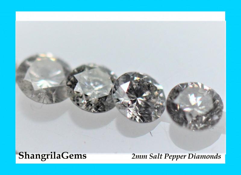 0.25ct 2mm Salt and Pepper Diamonds AA Grade 7 to 8 gems