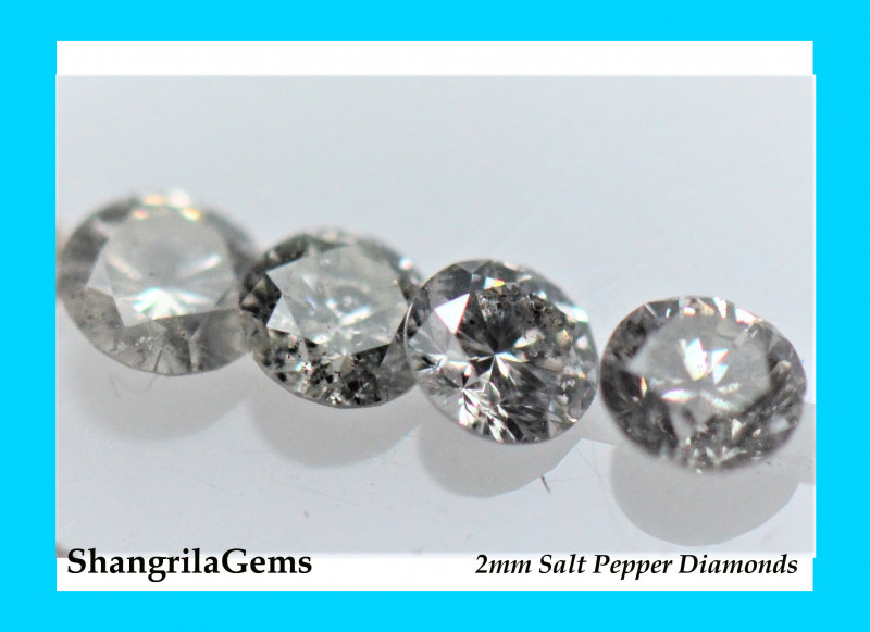 0.5ct 2mm Salt and Pepper Diamonds AA Grade 14 to 16 gems