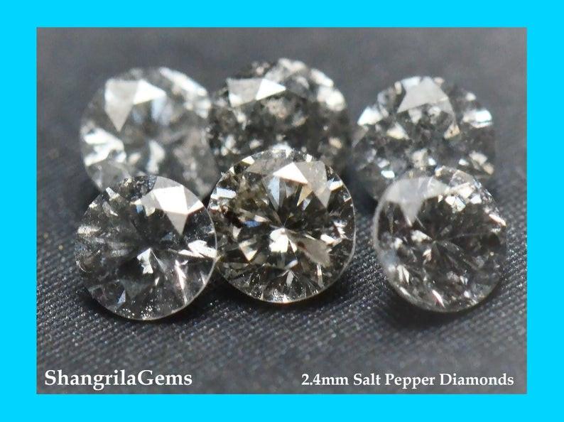 1ct 2.4mm Salt Pepper Diamonds AA Grade  16 gems