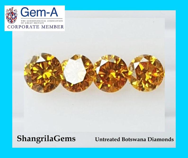 One 3.5mm Orange Diamond brilliant cut grade SI 1 0.16ct