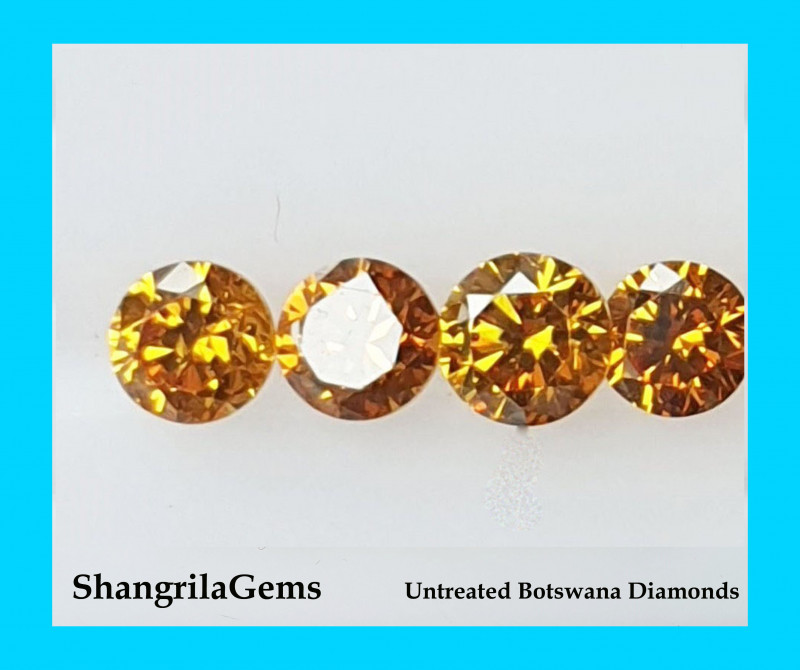 Four 1.5mm Orange Diamond brilliant cut diamonds grade SI1 0.015ct Total 0.