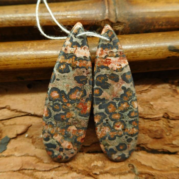 Natural gemstone leopard skin jasper earring pair (G0550)