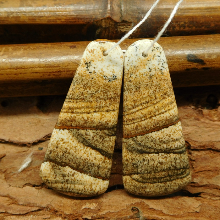 Picture jasper earring pairs (G0556)