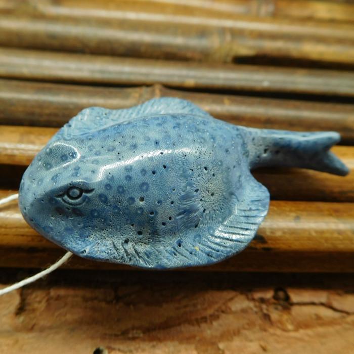 Blue coral carved debil fish pendant (G0562)