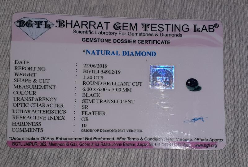 Cert. 1.2ct 6mm Black diamond brilliant cut #bd7