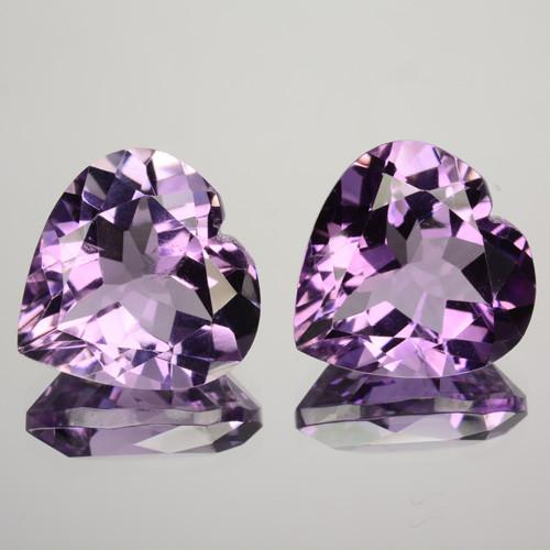~PAIR~ 8.97 Cts Natural Purple Amethyst 12mm Heart Cut Bolivia