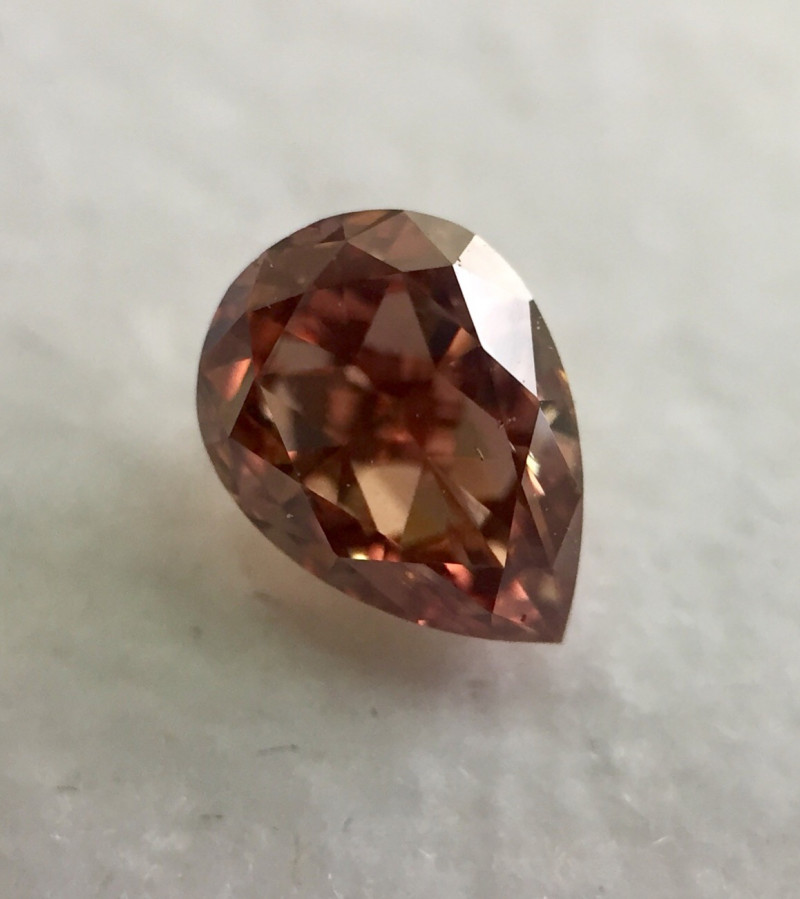 GIA Report Pear Shape 0.35 Carat Natural Fancy Deep Orangey Pink Loose Diam