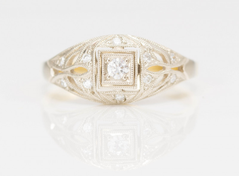 14 kt Gold  Ring  0.16 ct Diamond - New Jewelry