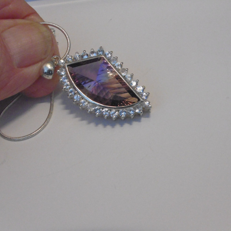 Ametrine Pendant  in Silver with white Sapphire accent gems