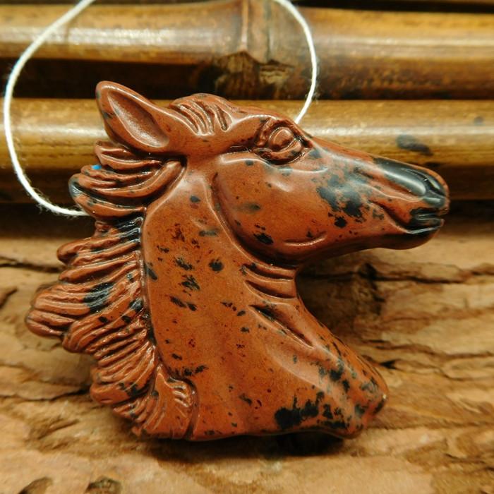 Mahogony obsidian carved horse pendant bead (G0601)
