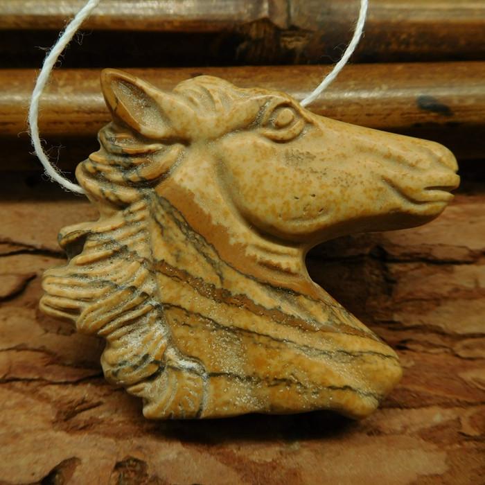Picture jasper carved horse head pendant (G0604)