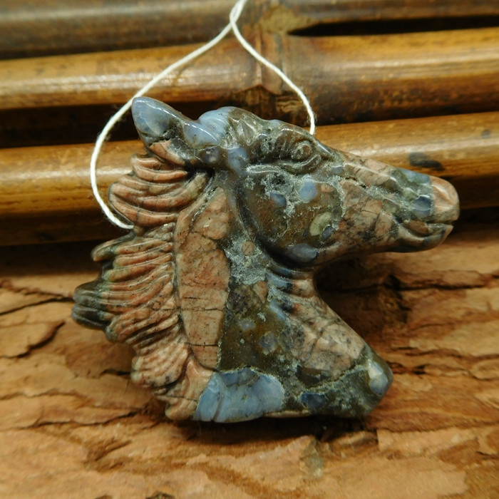Natural stone cronoid fossil carve horse head pendant (G0608)