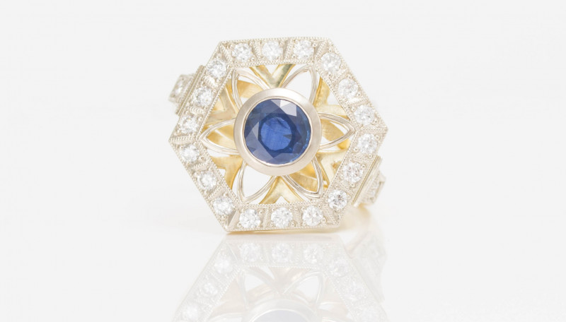 14 kt Gold  Ring  2.00 ct Sapphire - New Jewelry