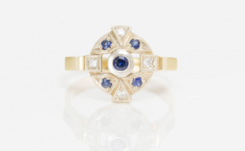 14 kt Gold  Ring  0.30 ct Sapphire - New Jewelry